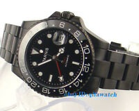 40mm Parnis Sapphire crystal Black dial PVD GMT Automatic men's Watch E963