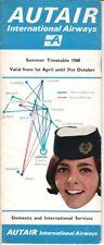 Autair International Airways timetable 1968/04/01 (damaged)