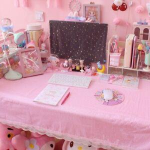 Girls Pink Lace Check Tablecloth Kawaii Bedroom Table Desk Decoration Mats