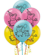 """NEW Peppa Pig 12"""" Latex Balloons ~ Birthday Decoration Party Favor Supplies -6ct"""