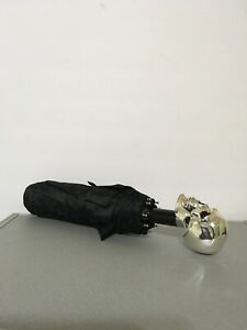 Pasotti Silver Skull Folding Umbrella Allover Skull Black