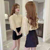 Women Lace Floral Blouse Shirt Top Short Puff Sleeve Mesh Hollow Out Loose Pink