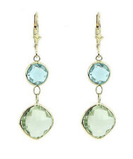 14K Yellow Gold Gemstone Earrings with Green Amethyst and Blue Topaz Dangle