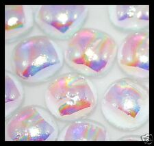 Lot of 12 RIPPLE CLEAR SPECTRUM Fused Glass DICHROIC Cabochons NO HOLE Beads