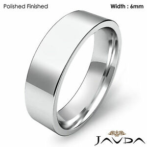 6mm Men's Comfort Fit Pipe Cut Wedding Band Ring 14k White Gold 8.5gm 12-12.75
