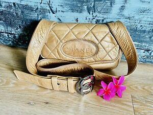 Authentic   Chanel Vintage Leather CC Buckle Flap Messenger /Crossbody Bag🌺Rare