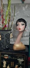 More details for painted mannequin head flapper art deco vintage style.hat wig jewellery display.