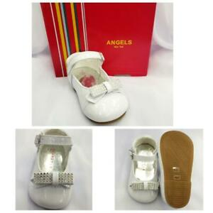 New Angels NY Girl Toddler White Pat Shoes # 4411 with hooks & loops shoes 2-6