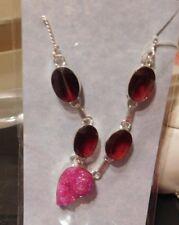Necklace Silver Pink Titanium Druzy & Garnets NEW