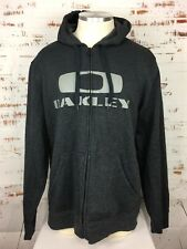 Oakley Men's Full Zip Hoodie Sweater XL Dark Grey Big Logo Spellout Sweatshirt