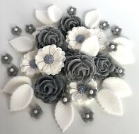 Grey/White Roses Bouquet Edible Sugar Flowers Wedding Cake Decorations Toppers