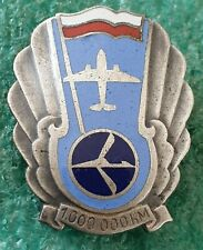 LOT POLISH AIR LINES BADGE FOR A PILOT FOR A 1,000,000 KM FLIGHT - OLD PIN BADGE