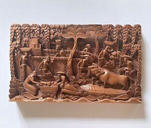 Vintage Balinese Hand Carved Wood Panel Large Wall Hanging Stunning Workmanship
