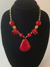 Barse Brand Genuine Faceted Hematite Mixed Stone Statement Pendent Necklace Red