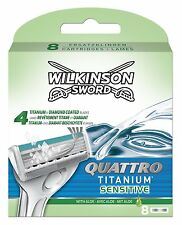 Wilkinson Sword Quattro Titanium Sensitive Mens Razor Blades 8 Pack Genuine