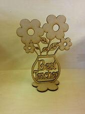 Best Teacher Wood Flower pot with flowers. Home decor, Gift, Craft.
