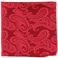 New Brand Q Men's micro fiber Pocket Square Hankie Only paisley red formal