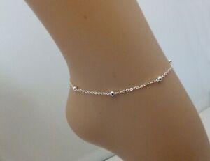 A Simple Delicate Silver Plate Ball and Chain Anklet, Great for Summer Brand New