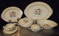 """Floral Gold Trim Narumi Bone China 8pc Serving Set 17"""" & 12"""" platter, 11"""" Bowl"""