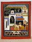 Rare Antique Handmade Miniature Painting Rajput Mewar King-Queen Quality time