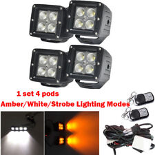"""4X 3"""" White/Amber/Strobe LED Work Light Flood Cube Pods Dual Color Remote Contro"""