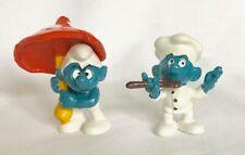 Umbrella Smurf and Chef Smurf Vintage 1979 Peyo Schleich Lot of 2