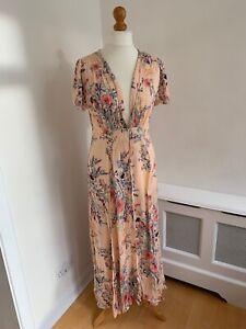 FREE PEOPLE INTIMATELY Pale Pink Floral Midi Fit & Flare Tea Dress L UK 12