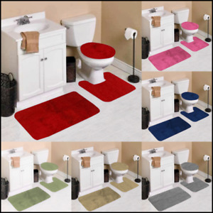 3-Piece Bathroom Bath Mat Contour Rug Set with Toilet Lid Cover #7