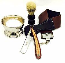Straight Razor Zeva Wooden Handle Men Shaving Gift Set 5 Pcs