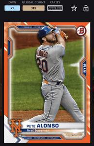 Topps MLB Bunt DIGITAL 21 Bowman Chrome Orange Base Super Rare Pete Alonso