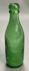 Antique 1890s Blob Top Bottle || Smith & Co Pure Bourne Waters || Embossed GREEN