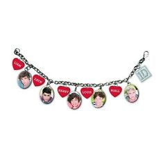 1D One Direction Silver Charm Bracelet Red Hearts Band Photos Names Official