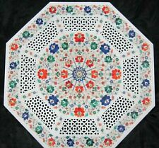 Filigree Work Marble Patio Center Table Top Gemstones Coffee Table Top 27 Inches