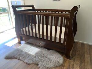Boori Walnut Sleigh cot with draw