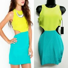 Naven Two Tone Silk Dress Womens size Small Lime Green Teal Cut out Sides
