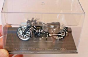 1/24 VINCENT HRD BLACK SHADOW IXO MUSEUM MOTORCYCLE BLACK IN DISPLAY CASE RARE