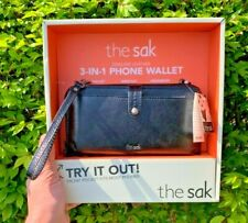 The Sak 3-in-1 Phone Wallet Zip Purse Case Crossbody Leather Authentic Black