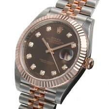 Rolex DATEJUST 41mm 126331 Mens Steel & Pink Gold Jubilee Chocolate Diamond Dial