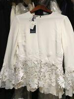 Oscar de la Renta Lace Silk Top $2490 NWT Gorgeous