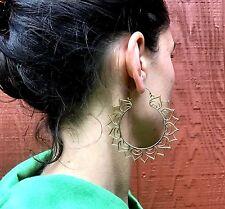 Lotus Flower Goddess Large Hoop Hook Earrings in Brass
