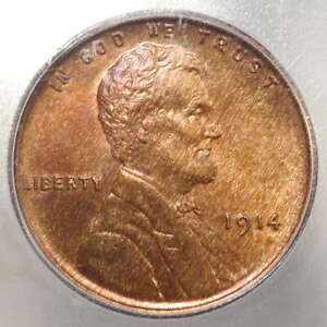 1914 Lincoln Cent, Uncirculated, Scarcer P Mint, Interesting Color