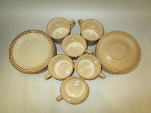 Lot of 3 Denby English Tan Stoneware Trio Sets ~ Cup, Saucer & Dessert Plate
