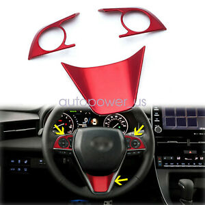 3Pcs New Red Steering Wheel Decoration Cover Trims For Toyota Camry 2018-2020
