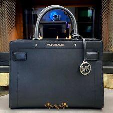 Michael Kors Rayne Satchel Medium Top Zip Saffiano Leather Bag Black