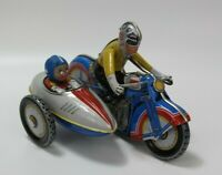 Tin Litho Toy Wind Up Motorcycle With Side Car & Key NON-WORKING FOR PARTS