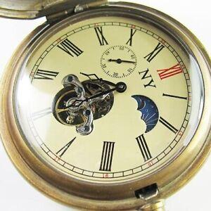 Mens Pocket Watch Vintage Tourbillon Brass Sun Moon Phase Mechanical Autowind