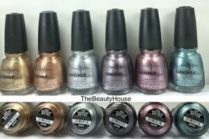 China Glaze Nail Polish CRACKLE METAL Collection Complete 6 Lacquers (1042-1047