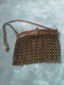 VINTAGE ART NOUVEAU STYLE BRASS? METAL CHAIN LINKED MESH  PURSE
