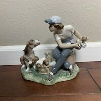 Lladro 5376 This One's Mine Boy with Puppy and Mother Dog Retired MINT with Box