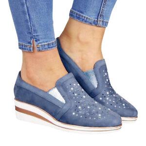 Women Pointy Toe Wedge Heels Hidden Rhinestone Casual Sneaker Loafers Pumps Shoe